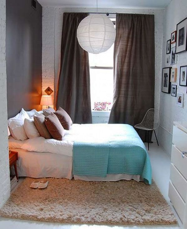 traditional bed set up for a small bedroom