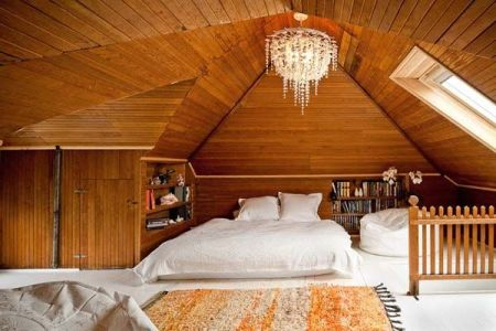 attic-bedroom-interior-with-wooden-accents