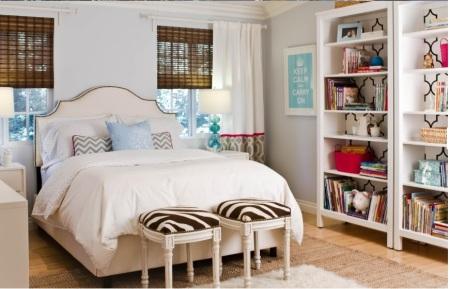 wallpapered bookshelves